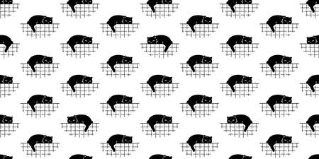 cat seamless pattern kitten vector sleeping calico animal pet scarf isolated repeat wallpaper cartoon tile background doodle illustration black design 일러스트