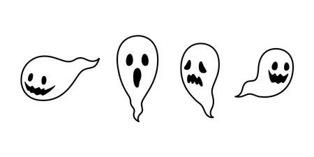 Ghost vector spooky icon Halloween  symbol cartoon character doodle illustration design
