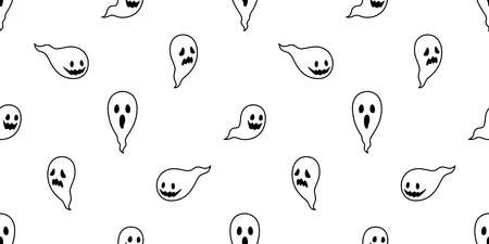 Ghost seamless pattern Halloween vector spooky scarf isolated repeat wallpaper tile background devil evil cartoon doodle illustration gift wrap paper white design
