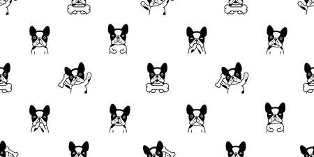 dog seamless pattern french bulldog vector bone pet puppy happy animal scarf isolated repeat wallpaper tile background cartoon illustration doodle design