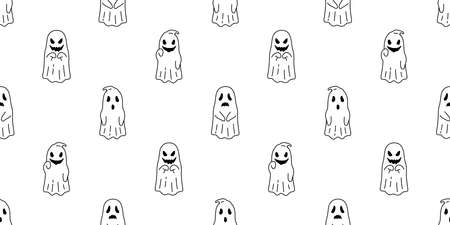 Ghost seamless pattern Halloween spooky cartoon vector scarf isolated tile background repeat wallpaper evil devil doodle illustration gift wrap paper design