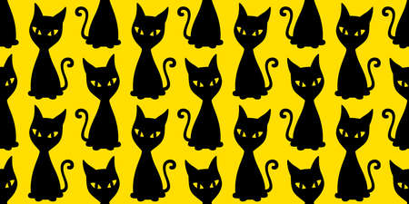 cat seamless pattern Halloween kitten vector calico cartoon scarf isolated repeat wallpaper tile background character doodle illustration yellow design