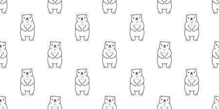 bear seamless pattern vector teddy cartoon scarf isolated repeat wallpaper tile background illustration doodle design
