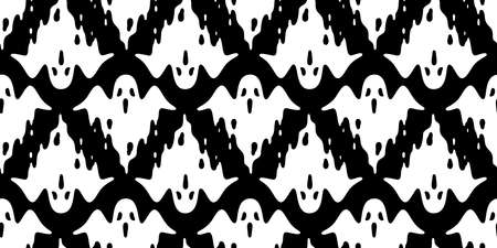 Ghost seamless pattern Halloween spooky vector flying scarf isolated repeat wallpaper tile background devil evil cartoon doodle illustration gift wrap paper black design Stock Illustratie