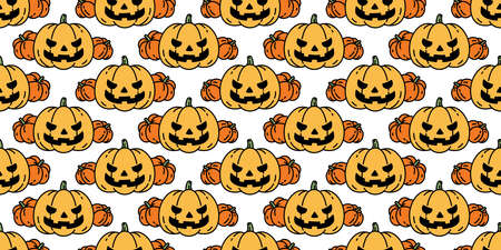 pumpkin Halloween seamless pattern vector cartoon ghost scarf isolated tile background repeat wallpaper illustration icon doodle design