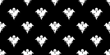 Ghost seamless pattern Halloween spooky vector fly scarf isolated repeat wallpaper tile background devil evil cartoon doodle illustration gift wrap paper black design Stock Illustratie