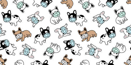 dog seamless pattern french bulldog face mask covid19 coronavirus pm 25 vector pet puppy animal cartoon scarf isolated repeat wallpaper tile background illustration doodle design