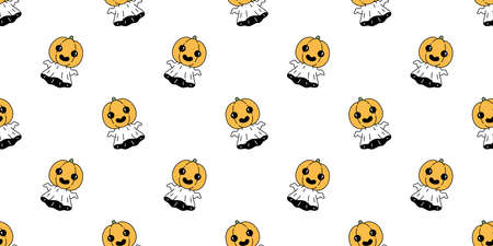 Ghost seamless pattern Halloween spooky pumpkin flying cartoon vector scarf isolated repeat wallpaper tile background devil evil doodle gift wrap paper illustration design Stock Illustratie