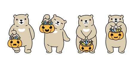 Bear vector halloween pumpkin polar bear candy basket icon teddy logo symbol cartoon character doodle illustration design Stock Illustratie