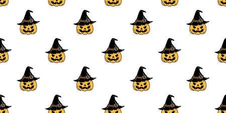 pumpkin Halloween seamless pattern vector witch hat ghost cartoon repeat wallpaper scarf isolated tile background illustration icon symbol doodle design