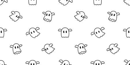 Ghost seamless pattern Halloween spooky cartoon vector bat wing tile background scarf isolated repeat wallpaper evil devil doodle illustration gift wrap paper design