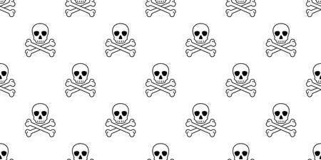 skull Halloween seamless pattern crossbones pirate vector symbol ghost scarf isolated repeat wallpaper tile background cartoon doodle illustration design Stock Illustratie