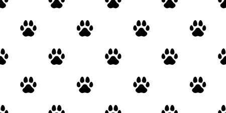 dog paw seamless pattern cat footprint french bulldog puppy vector cartoon repeat wallpaper scarf isolated tile background illustration doodle design Stock Illustratie