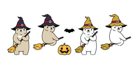 Bear vector halloween pumpkin polar bear witch hat broom icon teddy logo symbol cartoon character doodle illustration design