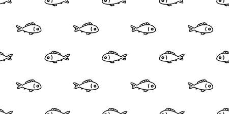 fish Seamless pattern salmon vector tuna shark cartoon dolphin scarf isolated whale ocean sea tile background repeat wallpaper illustration doodle animal design Stock Illustratie