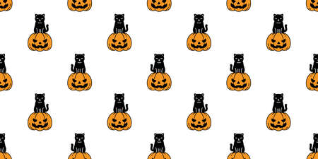 cat seamless pattern Halloween pumpkin kitten vector scarf isolated repeat wallpaper tile background cartoon character doodle illustration design