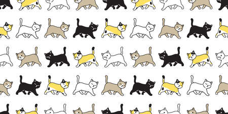 cat seamless pattern kitten calico vector pet walking scarf isolated repeat background cartoon animal tile wallpaper illustration doodle design Stock Illustratie