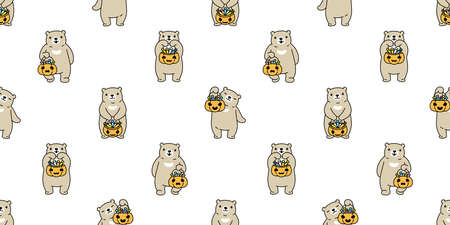 bear seamless pattern Halloween pumpkin polar bear candy basket vector repeat wallpaper ghost scarf isolated tile background cartoon character doodle illustration design Stock Illustratie