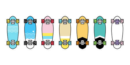 skateboard vector icon logo longboard cruiser board symbol extreme sport cartoon character doodle illustration design