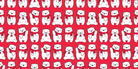 bear seamless pattern Christmas vector Santa Claus hat cartoon scarf isolated repeat wallpaper teddy tile background illustration doodle design Stock Illustratie