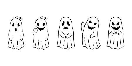 Ghost vector spooky icon Halloween logo symbol cartoon character evil doodle illustration design