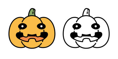 pumpkin Halloween vector icon logo symbol smile character cartoon ghost illustration doodle design