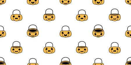 pumpkin Halloween seamless pattern candy basket vector scarf isolated cartoon ghost tile background repeat wallpaper illustration icon symbol doodle design Stock Illustratie