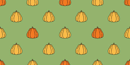 pumpkin Halloween seamless pattern vector cartoon ghost scarf isolated tile background repeat wallpaper illustration icon doodle color design Stock Illustratie