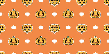 pumpkin Halloween seamless pattern vector scarf isolated cartoon repeat wallpaper ghost tile background doodle illustration icon symbol design