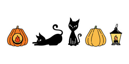 cat vector Halloween kitten pumpkin lamp black calico icon logo symbol ghost cartoon character doodle illustration design Stock Illustratie