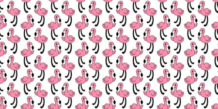 pink flamingo seamless pattern vector cartoon scarf isolated cute flamingos animal exotic nature wild fauna tile background repeat wallpaper illustration design Stock Illustratie