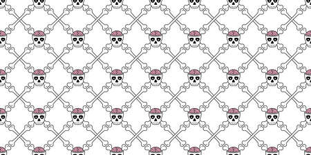 skull Halloween seamless pattern crossbones pirate brain vector zombie symbol ghost scarf isolated repeat wallpaper tile background cartoon illustration doodle design