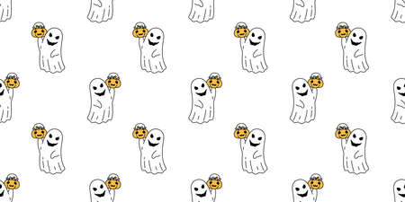 Ghost seamless pattern Halloween spooky pumpkin basket candy cartoon vector scarf isolated repeat wallpaper tile background devil evil doodle gift wrap paper illustration design