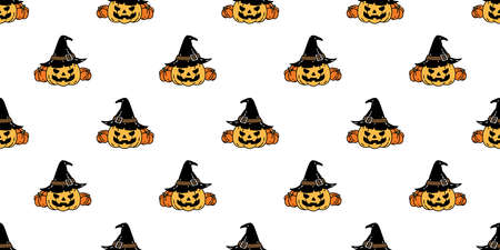 pumpkin Halloween seamless pattern vector witch hat ghost cartoon scarf isolated repeat wallpaper tile background illustration icon symbol doodle design
