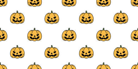 pumpkin Halloween seamless pattern vector cartoon ghost scarf isolated repeat wallpaper tile background illustration icon symbol doodle design