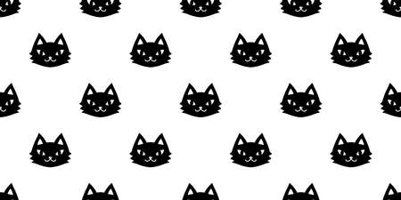 cat seamless pattern kitten vector calico head face cartoon isolated repeat wallpaper tile background character doodle illustration black design