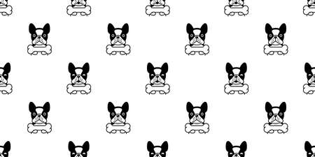 dog seamless pattern french bulldog vector bone pet puppy animal scarf isolated repeat wallpaper tile background cartoon illustration doodle design