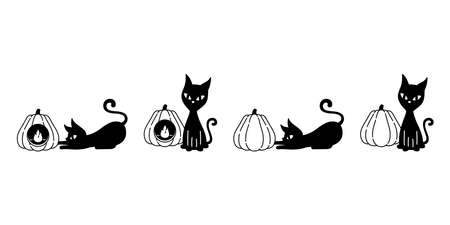 cat vector Halloween kitten pumpkin lamp black calico icon logo symbol ghost character cartoon doodle illustration design