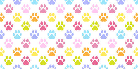 dog paw seamless pattern cat footprint french bulldog vector cartoon repeat wallpaper scarf isolated tile background illustration doodle color design