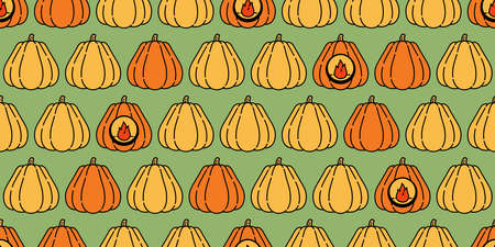 pumpkin Halloween seamless pattern vector cartoon ghost tile background scarf isolated repeat wallpaper illustration icon doodle color design Stock Illustratie