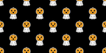 Ghost seamless pattern Halloween spooky pumpkin cartoon vector gift wrap paper scarf isolated repeat wallpaper tile background devil evil doodle illustration black design
