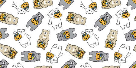 bear seamless pattern Halloween pumpkin polar bear candy basket vector ghost tile background repeat wallpaper scarf isolated cartoon character illustration design