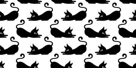 cat seamless pattern Halloween kitten vector calico cartoon repeat wallpaper scarf isolated tile background character doodle illustration design