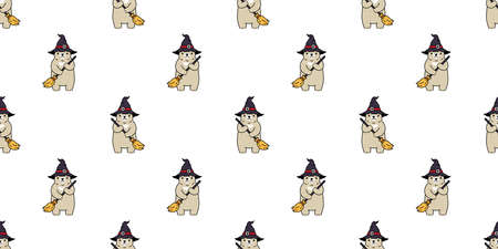 bear seamless pattern Halloween polar bear witch broom hat vector ghost tile background repeat wallpaper scarf isolated cartoon character illustration design Stock Illustratie