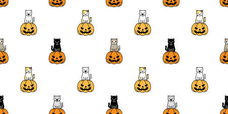 cat seamless pattern Halloween pumpkin kitten vector repeat wallpaper ghost scarf isolated tile background cartoon character illustration doodle design
