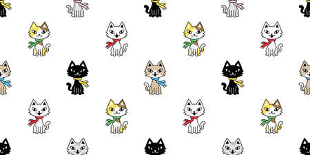cat seamless pattern christmas scarf kitten vector calico cartoon collar isolated repeat wallpaper tile background character doodle illustration design