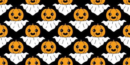 Ghost seamless pattern Halloween spooky pumpkin cartoon vector scarf isolated repeat wallpaper tile background devil evil doodle gift wrap paper illustration design