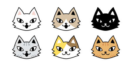 cat vector icon calico kitten face head character cartoon pet breed logo symbol doodle illustration animal design