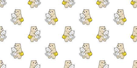 bear seamless pattern polar vector cat kitten repeat wallpaper teddy pet scarf isolated cloud cartoon tile background doodle illustration design Illustration