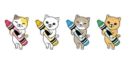 cat vector kitten calico icon crayon paint pet cartoon character symbol scarf illustration doodle design Illustration